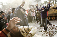 Violent clashes between pro and anti Mubarak in Cairo.<br /> Anti Egyptian president demonstrators repel Mubarak's supporters after they pushed aggressively inside Tahrir Square, the center of anti-government demonstrations,  hurling stones at each others. 02 February 2011.