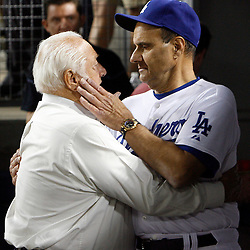 Tommy Lasorda with Joe Torre as the Phillies beat the Dodgers 5-1 to win the National League pennant during a National League Championship Series baseball game between the Philadelphia Phillies and the Los Angeles Dodgers on Wednesday October 15, 2008, at Dodger Stadium. (SGVN/Staff Photo by Keith Birmingham/SPORTS)