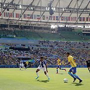 Football - Olympics: Day 12   Neymar #10 of Brazil in action  defended by Marcelo Pereira #3 of Honduras during the Brazil Vs Honduras Men's Semifinal match at Maracana Stadium on August 17, 2016 in Rio de Janeiro, Brazil. (Photo by Tim Clayton/Corbis via Getty Images)