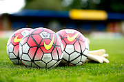 The new Nike Premier League balls ready for the Pre-Season Friendly match between St Albans FC and Crystal Palace at Clarence Park, St Albans, United Kingdom on 21 July 2015. Photo by Michael Hulf.