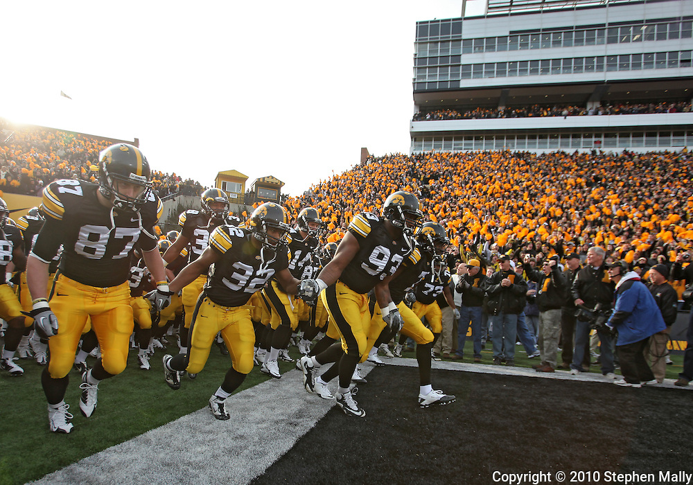 November 20 2010: The Iowa Hawkeyes take the field before the start of the NCAA football game between the Ohio State Buckeyes and the Iowa Hawkeyes at Kinnick Stadium in Iowa City, Iowa on Saturday November 20, 2010. Ohio State defeated Iowa 20-17.