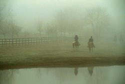 two people riding horses in the fog by a pond