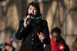 London, UK. 30 November, 2019. Sarah Bool, Conservative party candidate, speaks at a general election hustings for the Vauxhall constituency outside St Mark's church. Topics discussed included the lack of social housing provision, knife crime, the suitability of the candidates to be Prime Minister and airport expansion.