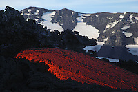 Molten lava flows from Mount Etna in Sicily Val de Bove