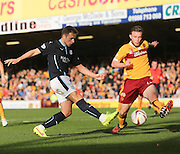 Greg Stewart shoots despite the efforts of Motherwell's Mark O'Brien  - Motherwell v Dundee, SPFL Premiership at Fir Park<br /> <br />  - &copy; David Young - www.davidyoungphoto.co.uk - email: davidyoungphoto@gmail.com