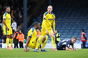 AFC Wimbledon striker Joe Pigott (39) looking across at linesman to see goal disallowed during the EFL Sky Bet League 1 match between Southend United and AFC Wimbledon at Roots Hall, Southend, England on 12 October 2019.