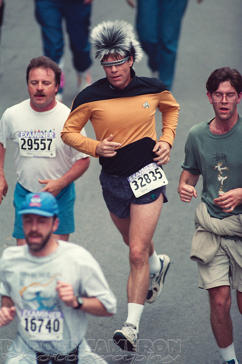 Unidentified Star Trek fan, center, runs in a costume that is perhaps a cross between Geordi LaForge and a tribble, at the 84th running of the Bay to Breakers 12K race, Sunday, May 21, 1995 in San Francisco. (Photo by D. Ross Cameron)