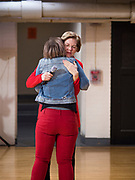 15 DECEMBER 2019 - WASHINGTON, IOWA: Senator ELIZABETH WARREN (D-MA) hugs DANIELLE PETIT-MAJEWSKI, a member of the Washington, IA, city council, after Petit-Majewski introduced Warren at a campaign event. Warren is campaigning in southeastern Iowa this weekend to support her effort to be the Democratic nominee for the US presidential race in 2020. This was Warren's 182nd town hall, and 85th event in Iowa. Iowa traditionally hosts the first presidential selection event of the campaign season. The Iowa caucuses are Feb. 3, 2020.      PHOTO BY JACK KURTZ