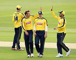 Hampshire's Danny Briggs celebrates taking a wicket - Photo mandatory by-line: Robbie Stephenson/JMP - Mobile: 07966 386802 - 03/07/2015 - SPORT - Cricket - Southampton - The Ageas Bowl - Hampshire v Glamorgan - Natwest T20 Blast