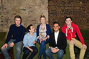 London, UK. Former member of pop-rock bands Busted and Son of Dork James Bourne and writer and composer Elliot Davis introduce the cast of their original British musical LOSERVILLE. Premiering at the West Yorkshire Playhouse, Leeds. Picture shows: the cast (front l-r) Richard Lowe (Lucas), Aaron Sidwell (Michael), Eliza Hope Bennett (Holly), Gareth Gates (Eddie), and Lil' Chris (Francis).