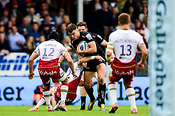 Ollie Devoto of Exeter Chiefs is challenged by Reece Marshall of Northampton Saints and Piers Francis of Northampton Saints - Mandatory by-line: Ryan Hiscott/JMP - 18/05/2019 - RUGBY - Sandy Park - Exeter, England - Exeter Chiefs v Northampton Saints - Gallagher Premiership Rugby