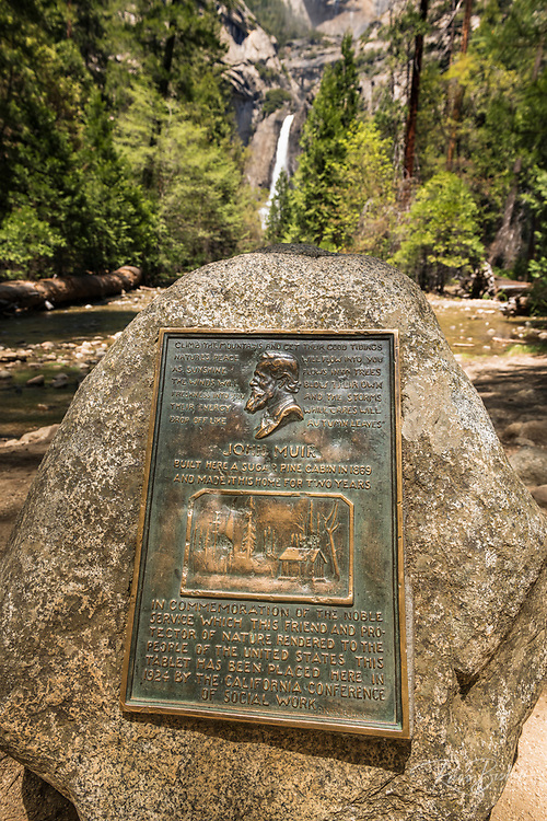 Interpretive plaque at the site of John Muir's cabin below Yosemite Falls, Yosemite National Park, California USA