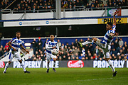 Queens Park Rangers midfielder Massimo Luongo (21) kicks the ball during The FA Cup 5th round match between Queens Park Rangers and Watford at the Loftus Road Stadium, London, England on 15 February 2019.