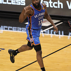 Jun 19, 2012; Miami, FL, USA; Oklahoma City Thunder guard James Harden (13) reacts after a shot against the Miami Heat during the second quarter in game four in the 2012 NBA Finals at the American Airlines Arena. Mandatory Credit: Derick E. Hingle-US PRESSWIRE