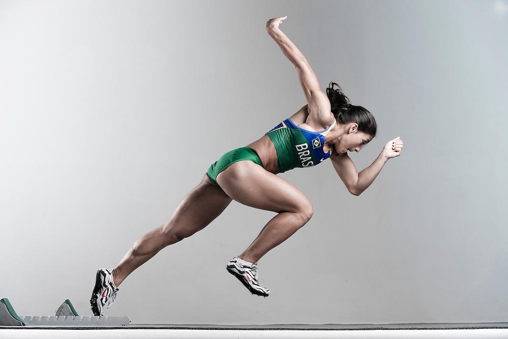 Sao Paulo, Brazil, May 29 of 2012: Ana Claudia Lemos, Guadalajara Panamerican Games gold medalist for the 200m, during a photo shooting for Nike, at Studio Six Degrees, in Sao Paulo.  (Photo: Caio Guatelli)