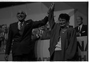 Fianna Fáil Ard Fheis.  (R97)..1989..25.02.1989..02.25.1989..25th February 1989..The Fianna Fáil Ard Fheis was held today at the RDS Main Hall, Ballsbridge, Dublin. An Taoiseach, Charles Haughey TD,gave the keynote speech of the event...Image shows Mrs Maureen Haughey, wife of An Taoiseach, Charles Haughey, being welcomed by delegates at the Fianna Fáil Ard Fheis