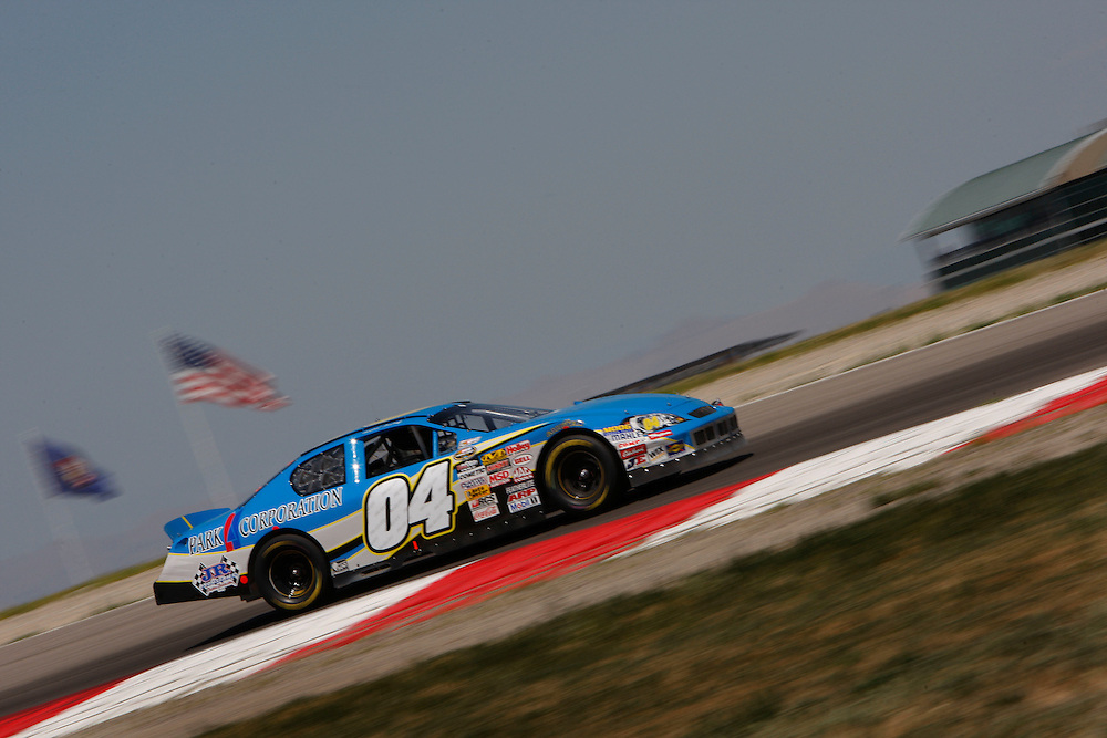 """Hershel McGriff, age 81 races to a 19th place finish in the NASCAR Camping World Series West race at Miller Motorsports Park """"125"""" in Tooele, Utah, Saturday, Aug. 1, 2009. August Miller, Deseret News ."""