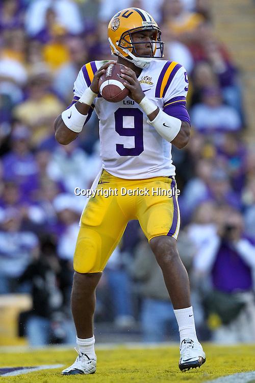 November 6, 2010; Baton Rouge, LA, USA; LSU Tigers quarterback Jordan Jefferson (9) looks to pass during the second half against the Alabama Crimson Tide at Tiger Stadium. LSU defeated Alabama 24-21.  Mandatory Credit: Derick E. Hingle