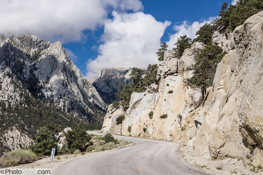 Whitney Portal Road twists upwards into the High Sierra, near Lone Pine, California, USA. Mount Whitney is on the boundary between California's Inyo and Tulare counties.