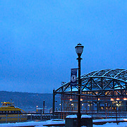 Water taxi parked at the snow covered Yonkers Pier.