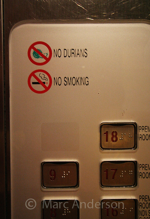 A 'No Durians' sign in a hotel elevator in Kuala Lumpur, Malaysia..