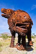 Metal sloth sculptures by Ricardo Breceda at Galleta Meadows Estate, Borrego Springs, California USA