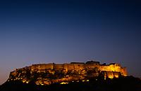 JODHPUR, INDIA - CIRCA NOVEMBER 2016:  Panoramic view of Mehrangarh Fort at night in Jodhpur