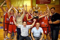 Coach Goran Jovanovic and team of Kranjska Gora at finals of Slovenian women basketball 1st league between Hit Kranjska Gora and ZKK Merkur Celje, on May 15, 2007, in Kranjska Gora, Slovenia. (Photo by Vid Ponikvar / Sportida)