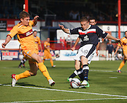 Motherwell's Shaun Hutchinson blocks a shot from Dundee's John Baird  - Dundee v Motherwell, Clydesdale Bank Scottish Premier League at Dens Park.. - © David Young - 5 Foundry Place - Monifieth - DD5 4BB - Telephone 07765 252616 - email: davidyoungphoto@gmail.com - web: www.davidyoungphoto.co.uk