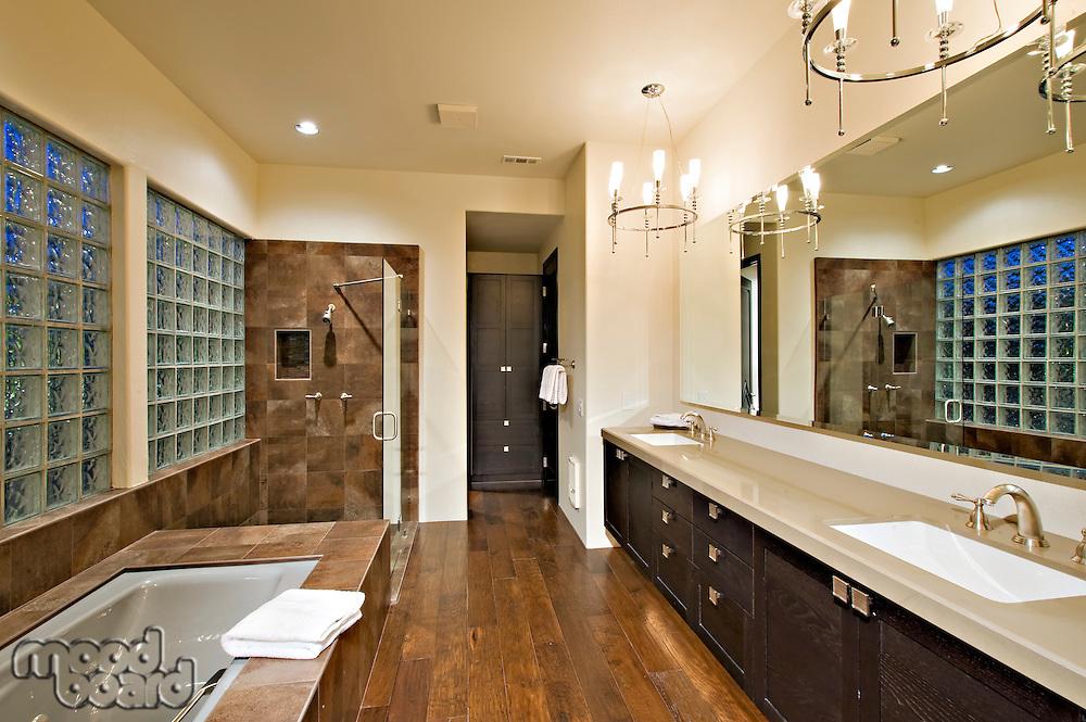 View of modern bathroom in luxury villa