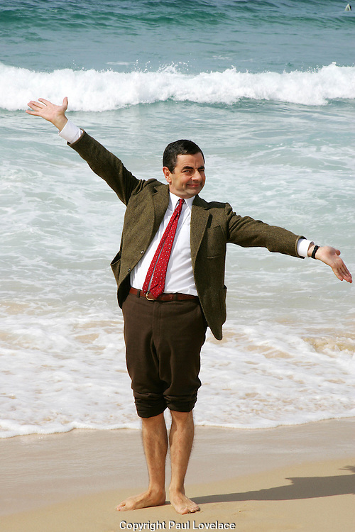 Mr Bean's Holiday, Bondi Beach, Sydney, Australia - 7 March  2007 .Mr Bean On Bondi Beach & with Bondi Lifeguards.Total 40 Pictures.Non Exclusive .Pics : Paul Lovelace 07.03.07 . An instant sale option is available where a price can be agreed on image useage size. Please contact me if this option is preferred.