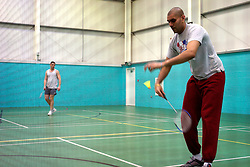UK ENGLAND NOTTINGHAM 14DEC04 - Two unidentified inmates play a game of Badminton at HMP Lowdham Grange in Nottinghamshire. This newly-built prison is entirely run and controlled by private company Premier-Serco on contract from the Home Office since 1998. The facility holds over 500 Category-B and C inmates with an minimum sentence of 4 years.....jre/Photo by Jiri Rezac....© Jiri Rezac 2004....Contact: +44 (0) 7050 110 417..Mobile:  +44 (0) 7801 337 683..Office:  +44 (0) 20 8968 9635....Email:   jiri@jirirezac.com..Web:     www.jirirezac.com....© All images Jiri Rezac 2004 - All rights reserved.