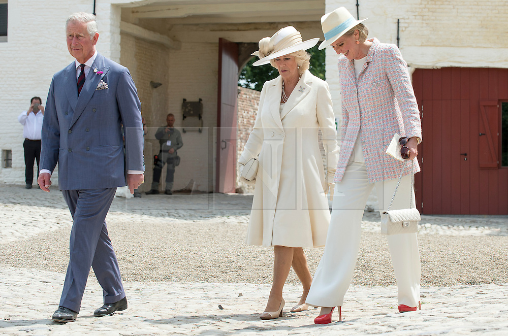 © London News Pictures. 17/06/2015. BELGIUM. <br /> Their Royal Highnesses The Prince of Wales and the Duchess of Cornwall accompanied by Her Royal Highness Princess Astrid of Belgium attended a special ceremony at the Belgian Farm. 200 years since the eve of the Battle of Waterloo, Their Royal Highnesses The Prince of Wales and the Duchess of Cornwall attended a special ceremony at Hougoumont Farm, the Belgian Farm Wellington claimed was instrumental in his victory.  Photo credit: Sergeant Rupert Frere/LNP