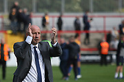 John Coleman, Manager of Accrington Stanley applauds the fans during the EFL Sky Bet League 2 match between Accrington Stanley and Mansfield Town at the Fraser Eagle Stadium, Accrington, England on 19 August 2017. Photo by John Potts.