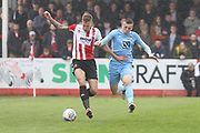 Harry Pell and Jordan Shipley during the EFL Sky Bet League 2 match between Cheltenham Town and Coventry City at LCI Rail Stadium, Cheltenham, England on 28 April 2018. Picture by Antony Thompson.