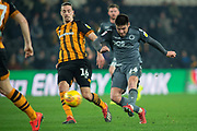 Millwall Midfielder Ben Marshall (44) has at shot at goal which is blocked during the EFL Sky Bet Championship match between Hull City and Millwall at the KCOM Stadium, Kingston upon Hull, England on 26 February 2019.