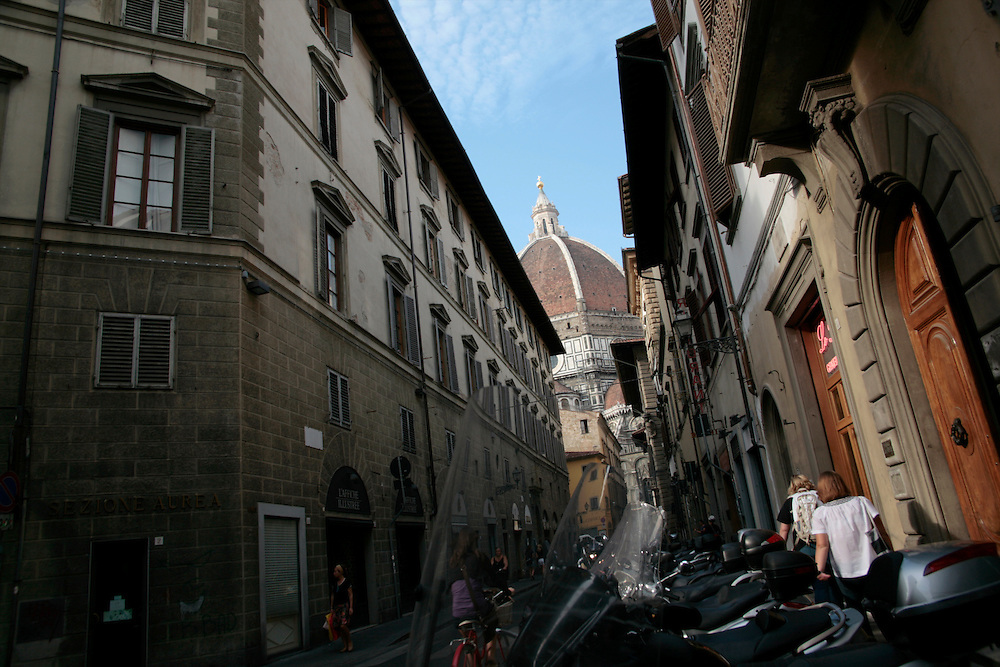 Street with Duomo in background, Florence, Italy, Florence, Italy