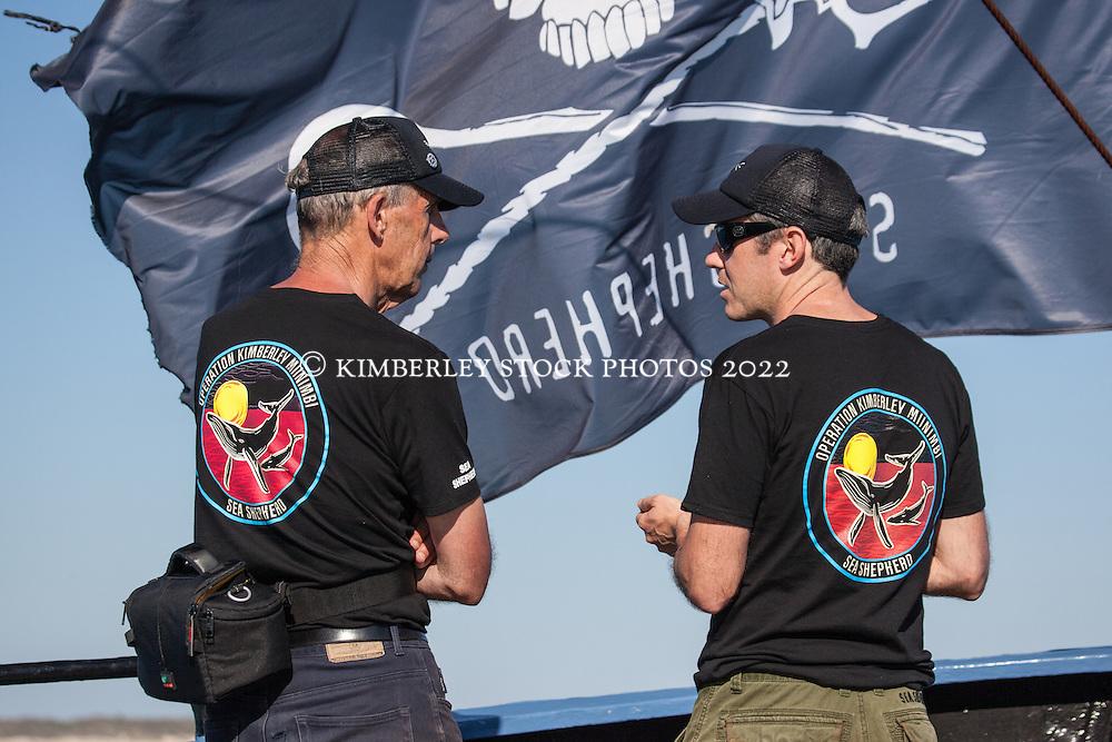 Ex senator Bob Brown chats with Sea Shepherd's Australian director, Jeff Hansen,  onboard the vessel Steve Irwin during Operation Kimberley Miinimbi.