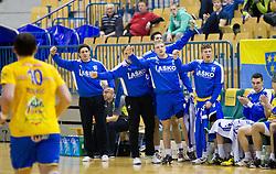 Players of Celje PL during handball match between RK Celje Pivovarna Lasko and HC Aarhus Haandbold (DEN) in second leg match of  Last 16 of EHF Cup Winners' Cup, on February 18, 2012 in Arena Zlatorog, Celje, Slovenia. (Photo By Vid Ponikvar / Sportida.com)