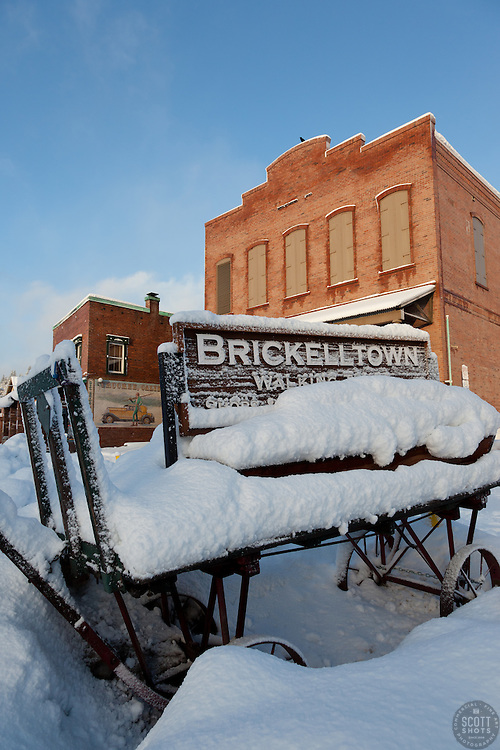 """""""Snowy Brickelltown Wagon"""" - This snow covered old wagon was photographed early in the morning in historic Downtown Truckee, CA."""