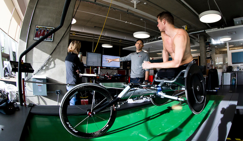 Tristan Smyth trains at the Pacific Institute for Sport Excellence on December 3rd, 2015 in Victoria, British Columbia Canada.<br /> <br /> Biomechanics Sam Blades testing both speed and biomechanic aspects of Smyth's movements on a treadmill with sensors connected to a computer.