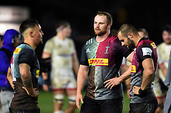 James Chisholm of Harlequins looks dejected after the match - Mandatory byline: Patrick Khachfe/JMP - 07966 386802 - 13/12/2019 - RUGBY UNION - The Twickenham Stoop - London, England - Harlequins v Ulster Rugby - Heineken Champions Cup