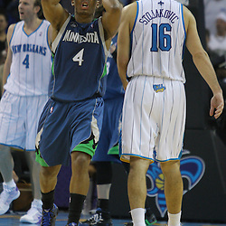 08 February 2009:  Minnesota Timberwolves guard Randy Foye (4) reacts to a play during a 101-97 win by the New Orleans Hornets over the Minnesota Timberwolves at the New Orleans Arena in New Orleans, LA.