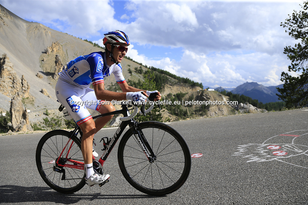 Rudy Molard (FRA) FDJ climbs through the Caisse Deserte on Col d'Izoard during Stage 18 of the 104th edition of the Tour de France 2017, running 179.5km from Briancon to the summit of Col d'Izoard, France. 20th July 2017.<br /> Picture: Eoin Clarke | Cyclefile<br /> <br /> All photos usage must carry mandatory copyright credit (&copy; Cyclefile | Eoin Clarke)