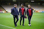 3rd November 2018, Fir Park, Motherwell, Scotland; Ladbrokes Premiership football, Motherwell versus Dundee;  Lewis Spence, Nathan Ralph and Jack Lambert of Dundee inspect the Fir Park pitch pre-match