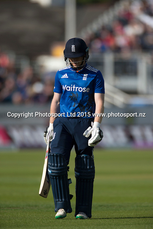 Captain Eoin Morgan walks off caught first ball on the boundry by Martin Guptill off the bowling of Mitchell Santner during the fifth one day intrnational, England v New Zealand at Riverside, Chester-le-Street. Photo: Graham Morris/www.photosport.nz