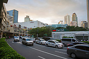 A view of the Landmark Hotel beside Glorietta Mall on Palm Drive, Makati, Metro Manila, Philippines. At the side of the road, called Street Ayala, is a UCC Park Cafe, which is part of the Glorietta Complex in Makati.  (photo by Andrew Aitchison / In pictures via Getty Images)