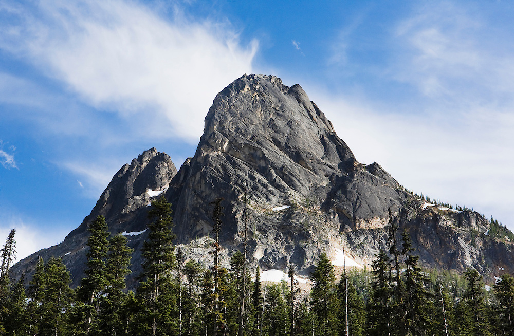 Looking up at the North Face of liberty bell Mountain in the North Cascades near Washington Pass, Washington on Highway 20, USA.