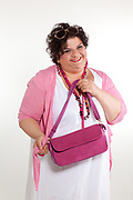 portrait of cheerful woman with bag, isolated on white background