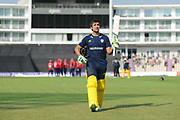 Rilee Rossouw of Hampshire acknowledges the crowd as he leaves the field after being dismissed during the Royal London One Day Cup match between Hampshire County Cricket Club and Essex County Cricket Club at the Ageas Bowl, Southampton, United Kingdom on 23 May 2018. Picture by Dave Vokes.